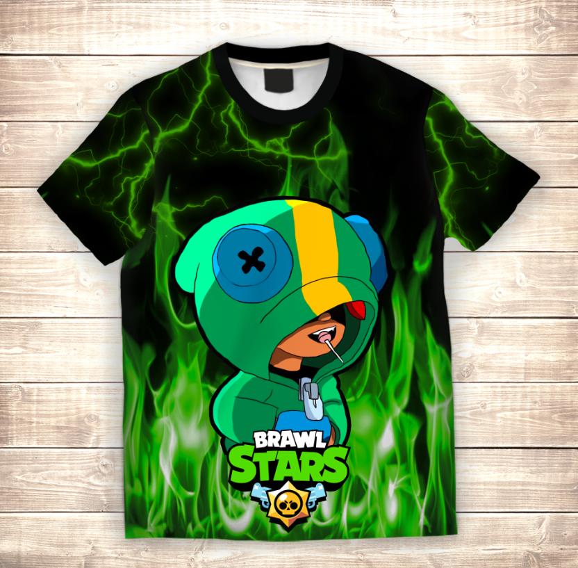 Футболка 3D LEON Green Fire Brawl Stars - фото 1