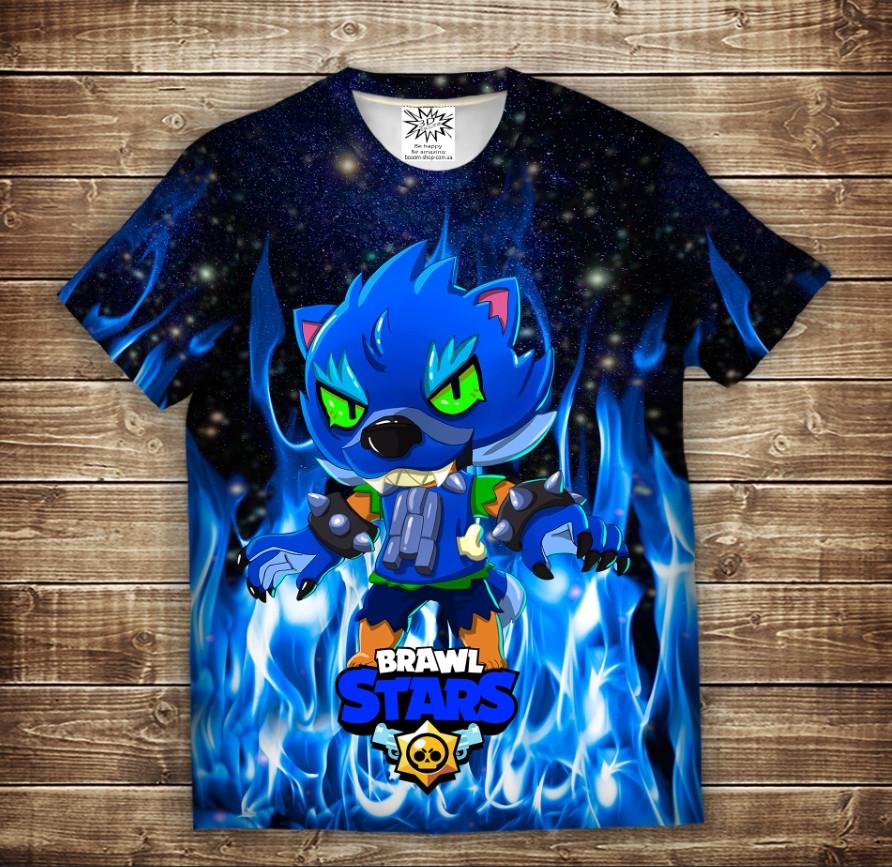 Футболка с 3D принтом на тему: Leon Werewolf in Blue Fire Brawl Stars Детские и взрослые размеры - фото 1