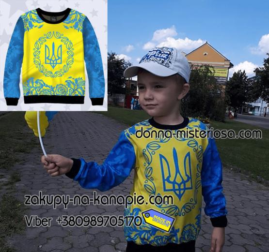 дитячі футболки та світшот з патріотичними принтами, дитячий світшот 3д Тризуб
