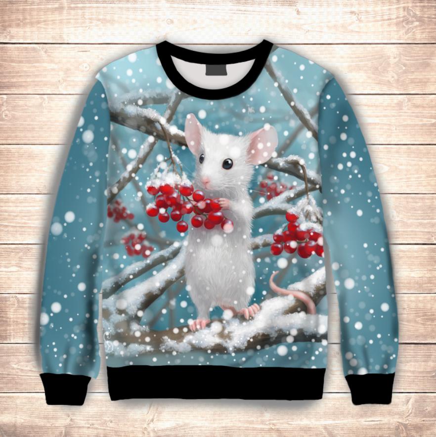 Світшот різдвяний з 3D принтом Біла мишка. Дорослі і дитячі розміри