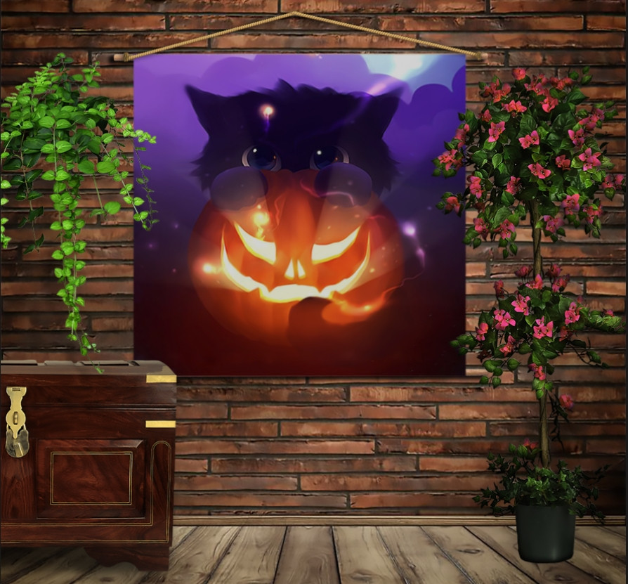 Мобільна картина-постер на тканині з 3D з принтом Котик і хеловін