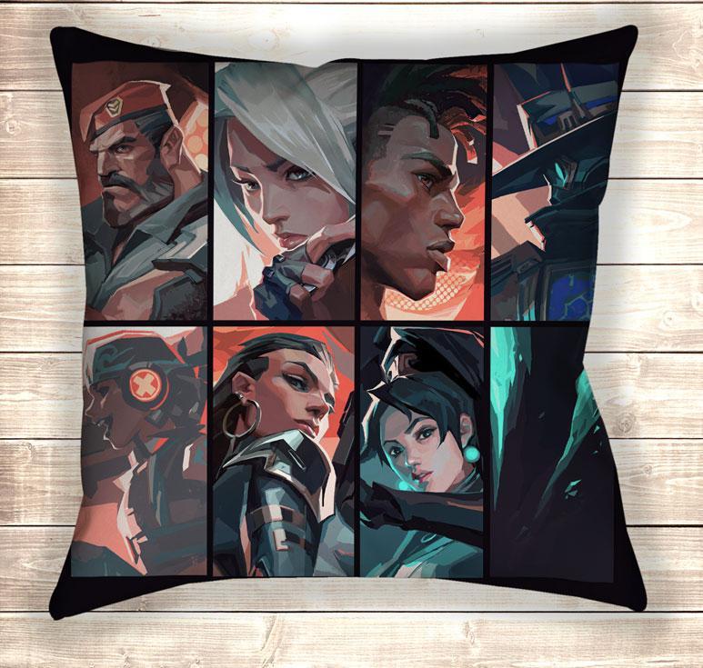 Подушка 3D принт - Valorant All Heroes