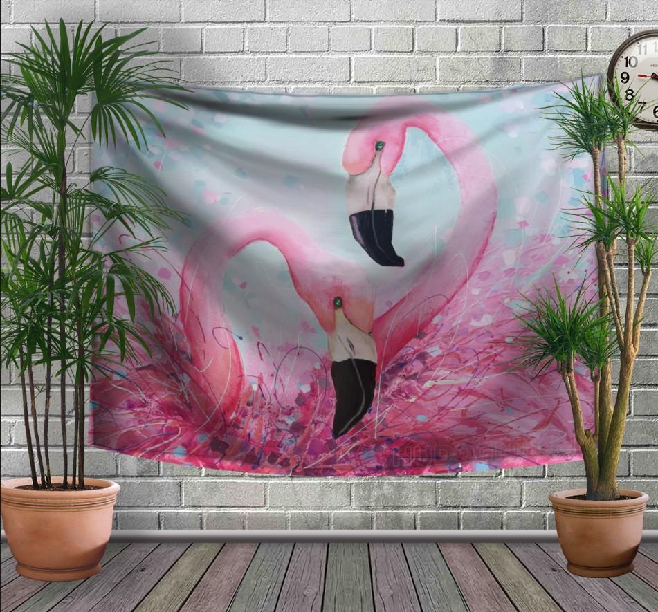 Панно-тапестри (гобелен) с 3D с принтом Двое розовых фламинго на белом фоне 240х140 см.