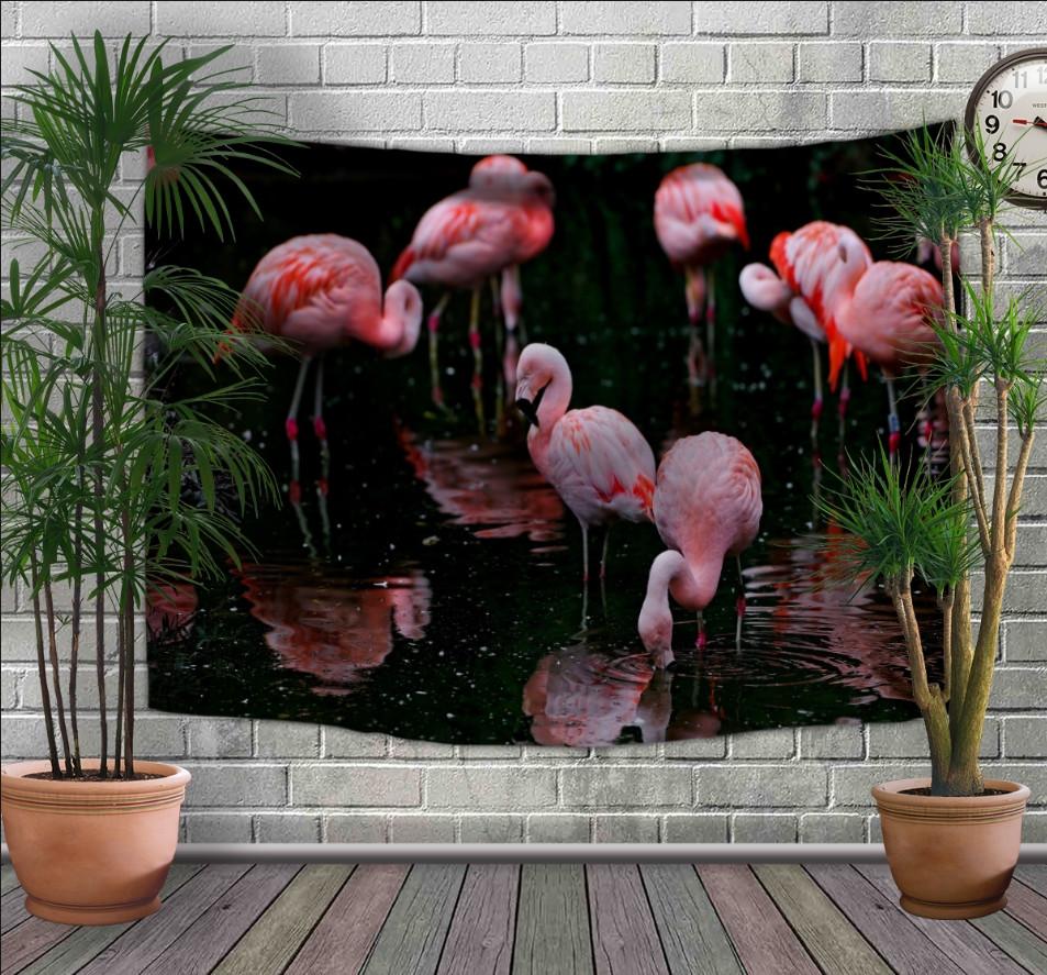 Панно-тапестри (гобелен) с 3D с принтом Розовые фламинго на темном фоне 240х140 см.