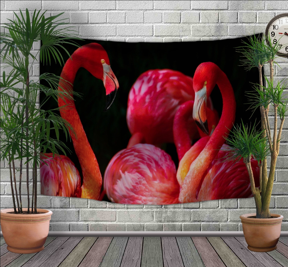 Панно-тапестри (гобелен) с 3D с принтом Розовые фламинго 240х140 см.
