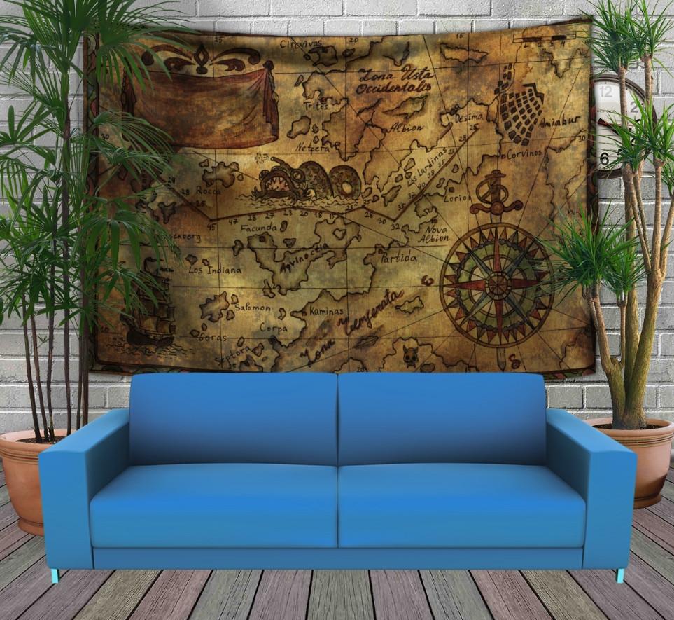 Панно-тапестри (гобелен) с 3D с принтом Карта пиратских сокровищ 240х140 см.