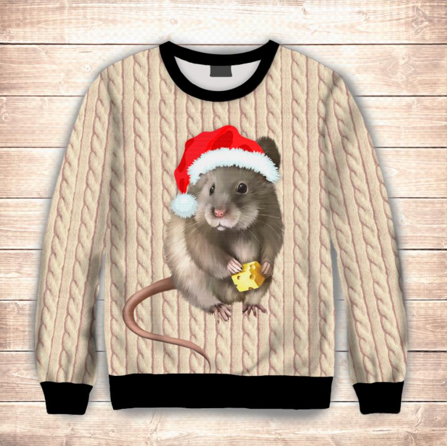 Свитшот 3D Новогодняя мышка
