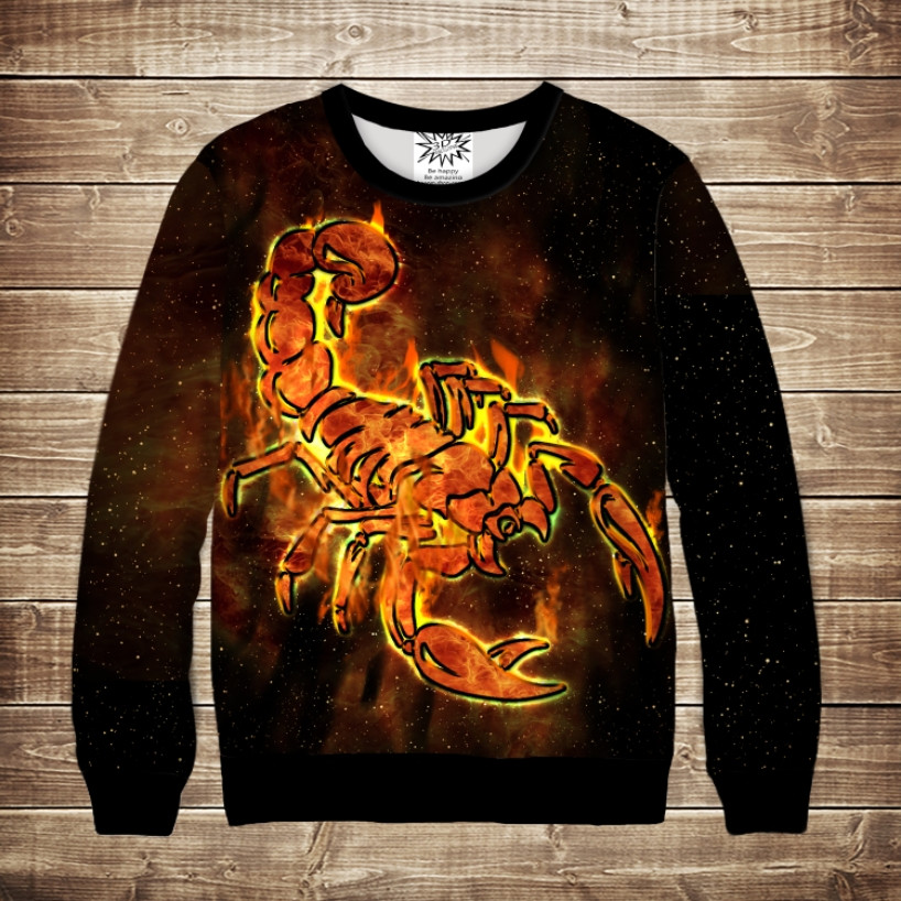 Свитшот с крутым 3D принтом Scorpion In Fire