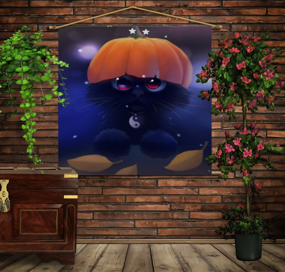 Мобильная картина-постер (гобелен) на ткани с 3D с принтом Геловинський котик