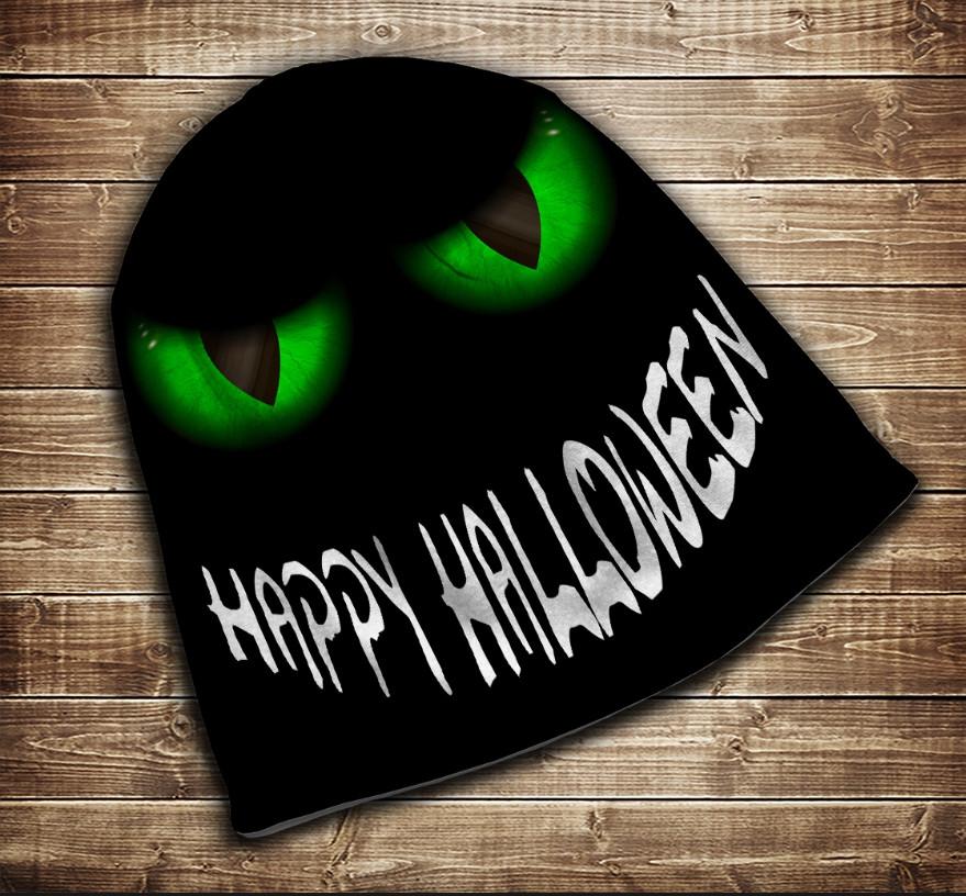Шапка с 3D принтом-Зеленые глаза Happy Helloween Все размеры