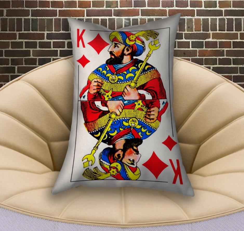 Подушка ростовая с 3D принтом на тему Карты игральные. Бубновый Король (70х50)