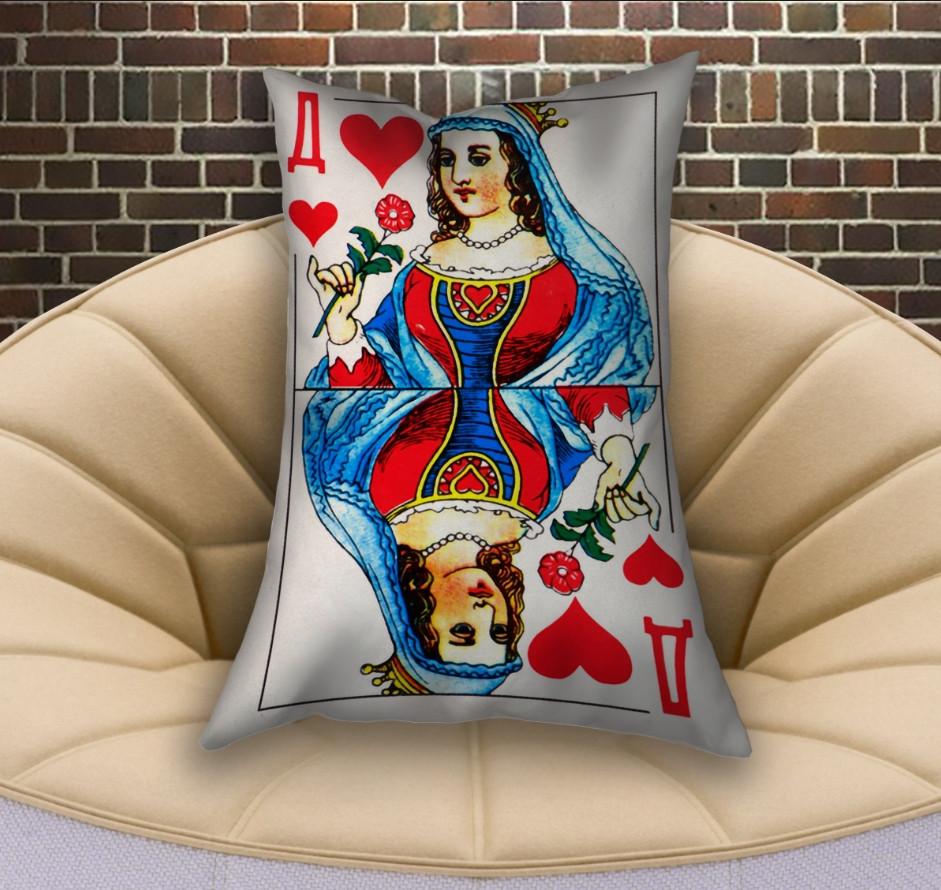 Подушка ростовая с 3D принтом на тему Карты игральные. Червей дама (70х50)