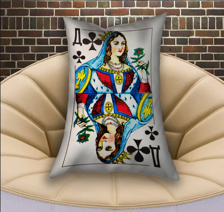 Подушка ростовая с 3D принтом на тему Карты игральные. Дама Треф (70х50)
