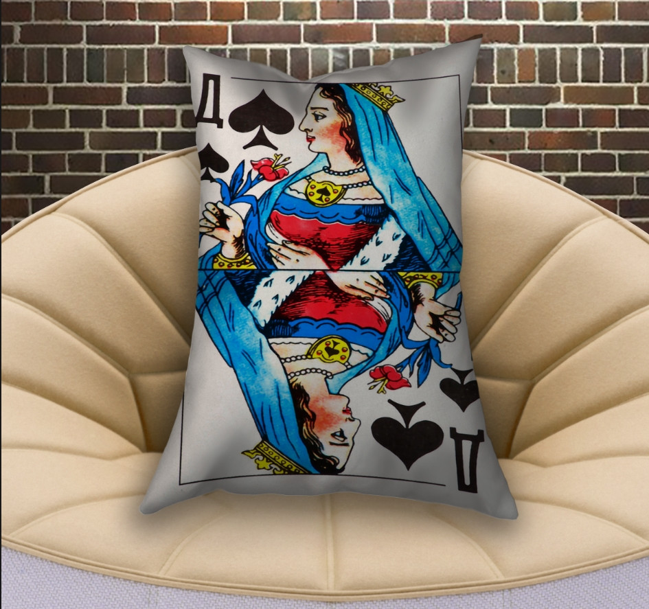 Подушка ростовая с 3D принтом на тему Карты игральные. Пиковая дама (70х50)