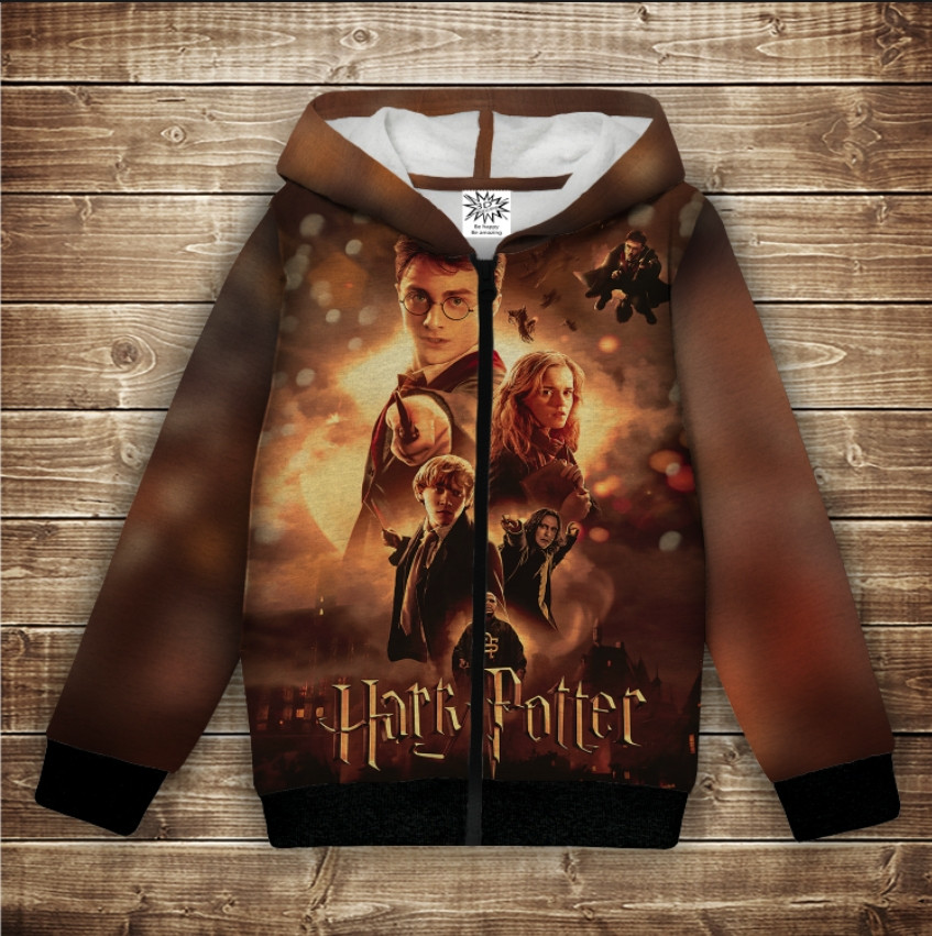 Худи с 3Д принтом на тему - Гарри Поттер Огонь и битва Детские и взрослые размеры