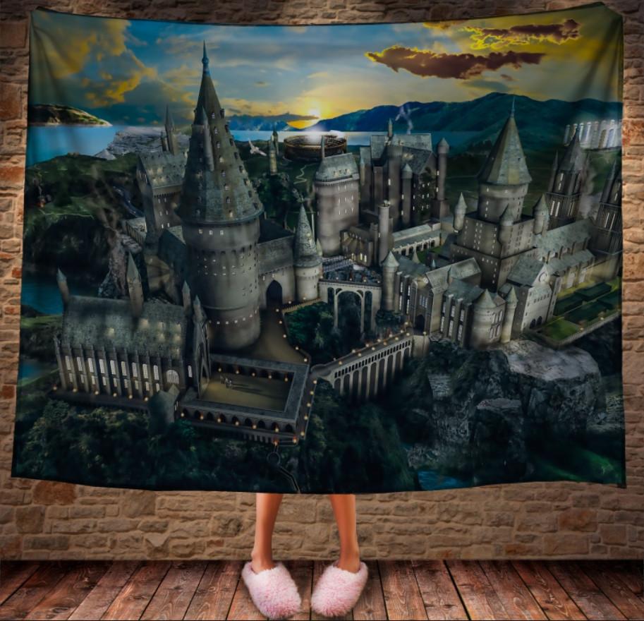 Плед с 3D принтом на тему - Школа Хогвартс