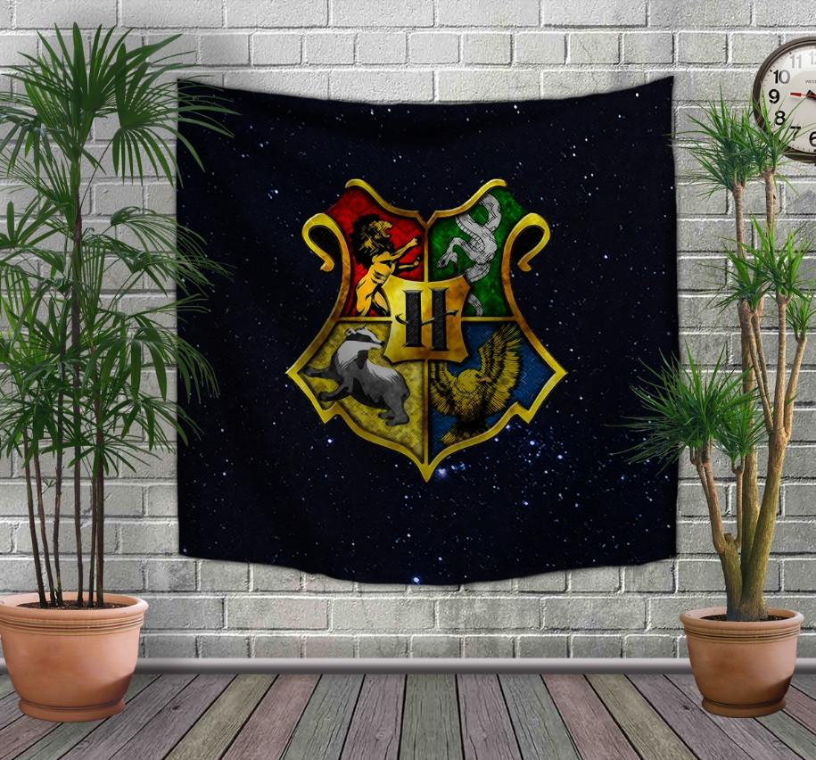 Панно-тапестри(гобелен) с 3D с принтом Гарри Поттер и Эмблема факультетов