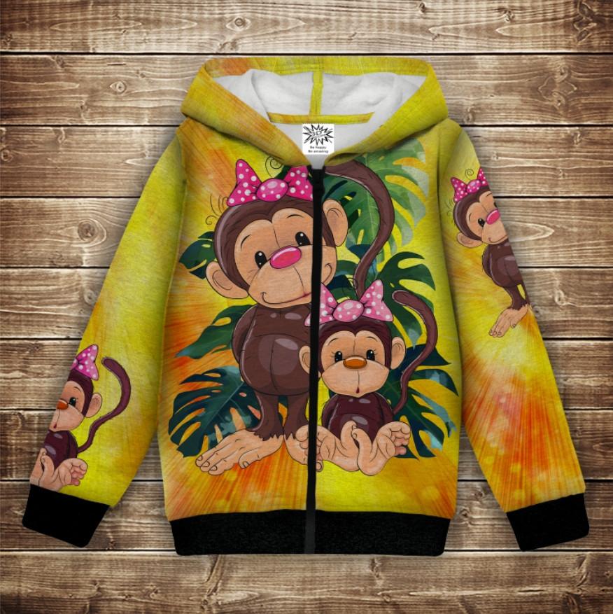 Худи с 3Д принтом на тему - Веселые обезьянки Жёлтый 1 Детские и взрослые размеры