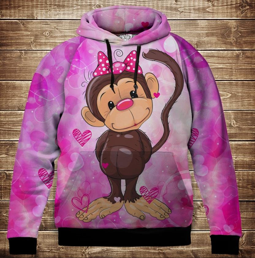 Толстовка с 3D принтом на тему: Веселые обезьянки Розовый 2. Детские и взрослые размеры